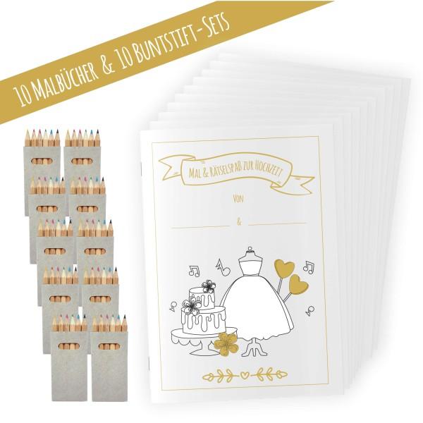 10er Set Hochzeitsmalbuch für Kinder
