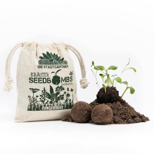 """Seedbombs """"Wildkräuter"""" im Jutebeutel"""