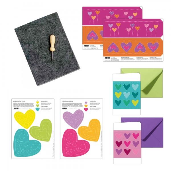 Prickeln für Kinder - Prickelset Herzen mit Karten