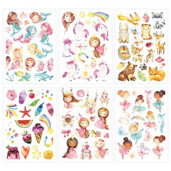 Papierdrachen Kindertattoos - Mix: Einhorn, Meerjungfrau, Prinzessin