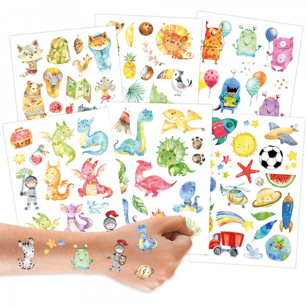 Papierdrachen Kindertattoo - Dinos und Monster
