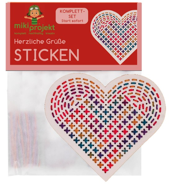 Bastelset Herz - Sticken für Kinder