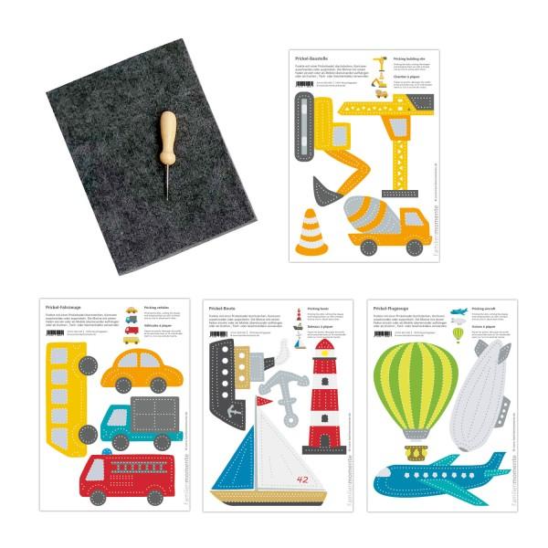 Prickeln für Kinder - Prickelset Land/Wasser/Luft