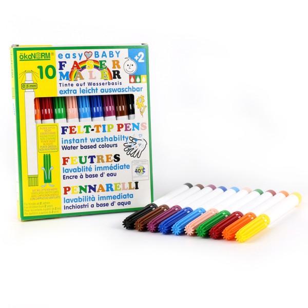 ökoNORM easy Baby - Fasermaler, 5mm, leicht auswaschbar - 10 Farben