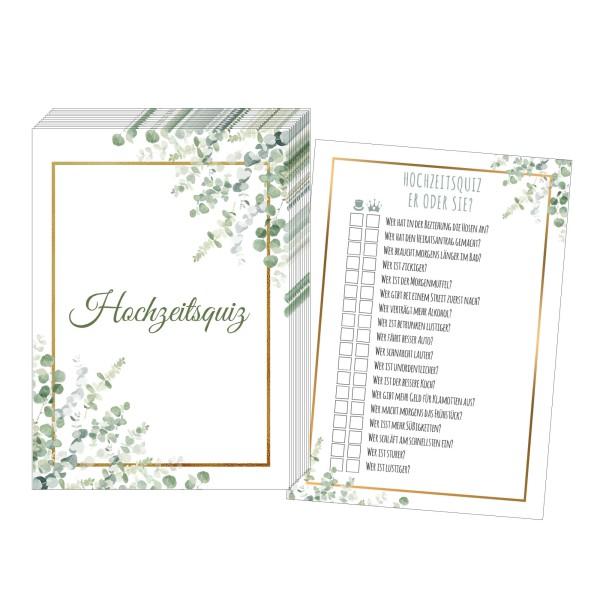 Hochzeitsquiz – Design Grün-Gold
