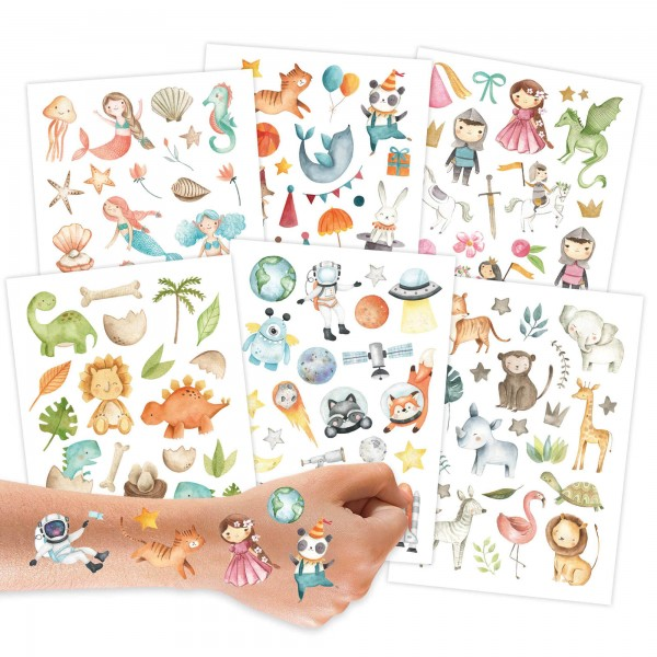 Papierdrachen Kindertattoos - Bunter Mix