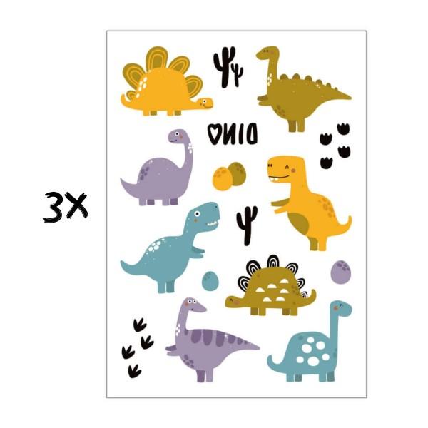 3x Kindertattoo Dino