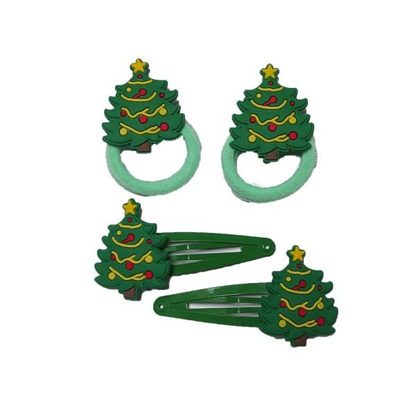 Set Haarschmuck Weihnachtsbaum