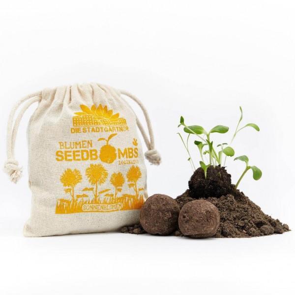 """Seedbombs """"Sonnenblumen"""" im Jutebeutel"""