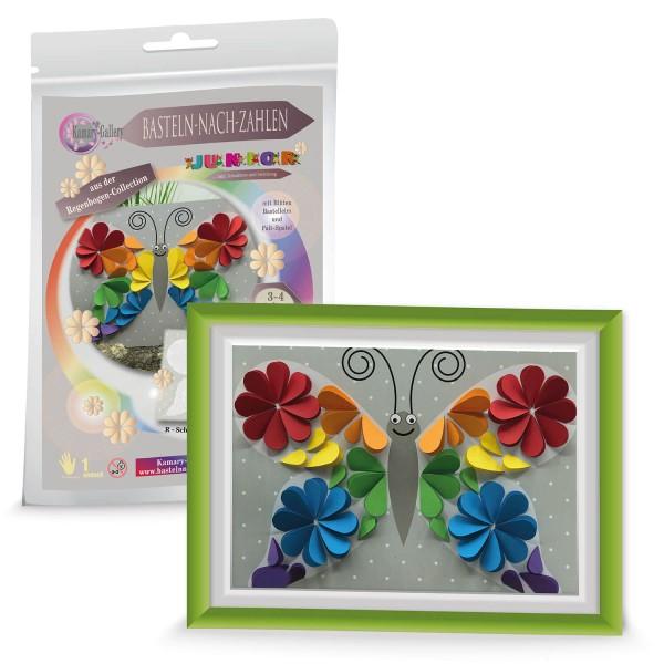 Basteln nach Zahlen - Schmetterling Regenbogen