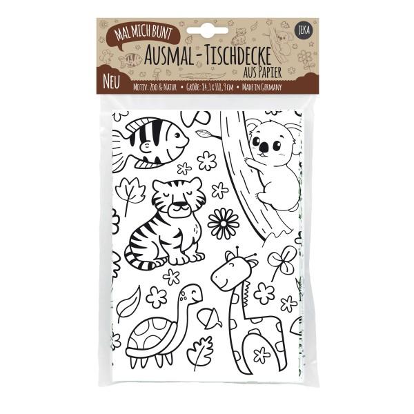 """Ausmal-Tischdecke aus Papier """"Zoo & Natur"""""""