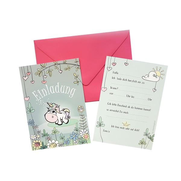"""6 Einladungen """"Einhorn"""" mit rosa Umschlägen"""