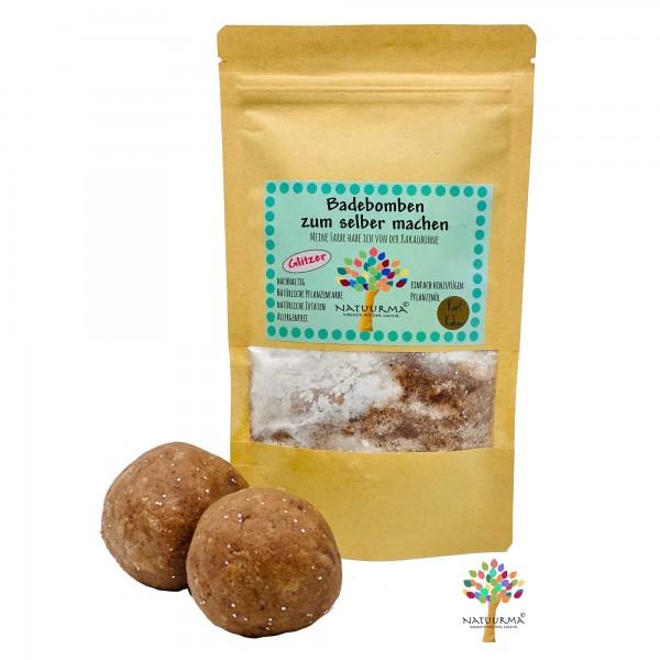 DIY Badebomben selber machen, Kakao Glitzer - bräunlich