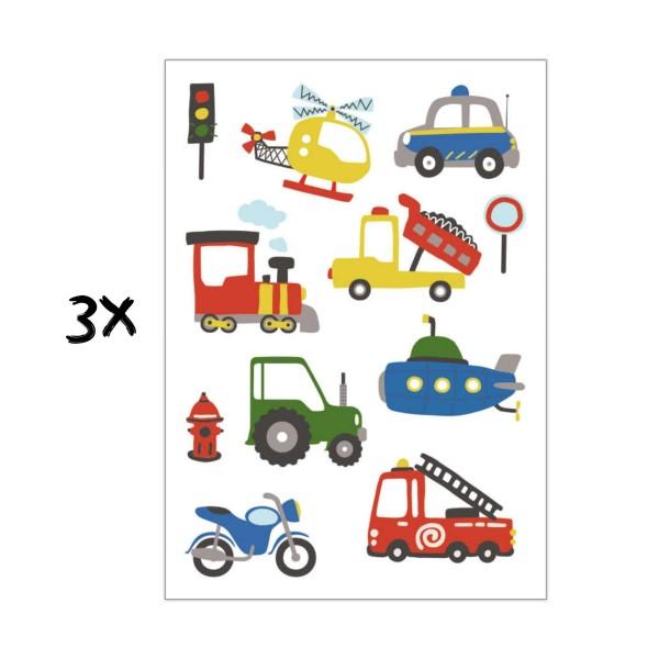 3x Kindertattoo Fahrzeuge