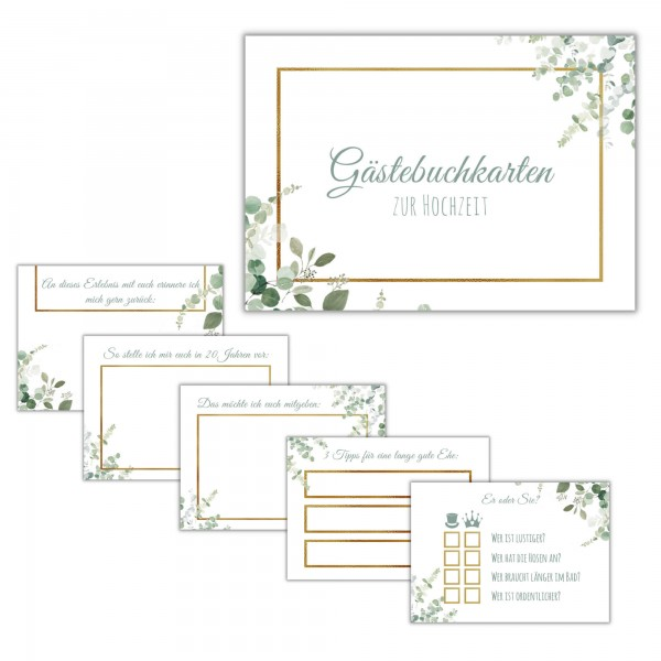 Gästebuchkarten - Design Grün-Gold