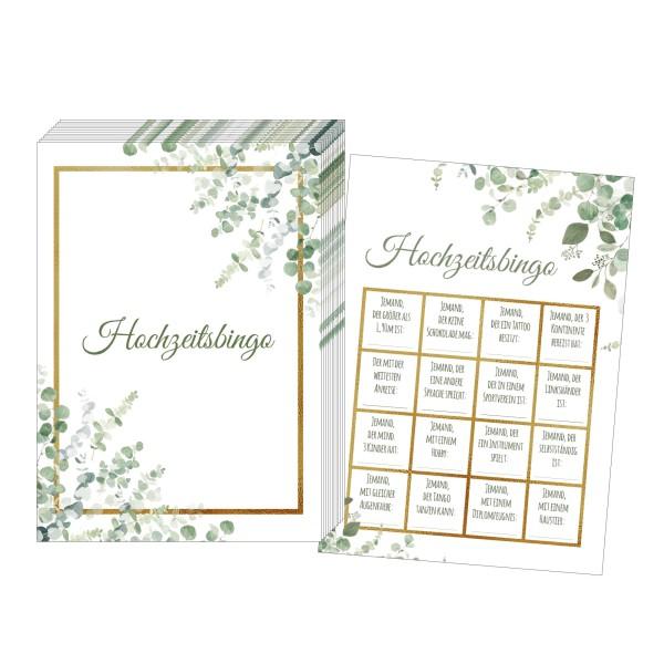 Hochzeitsbingo – Design Grün-Gold