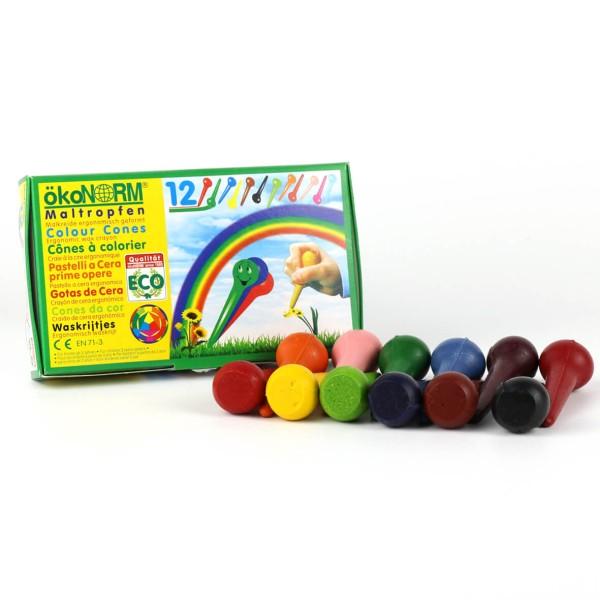 ökoNORM Maltropfen Wachsstifte - 12 Farben