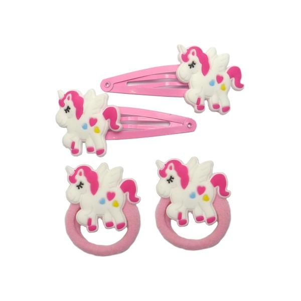 Set Haarspange Einhorn Pink