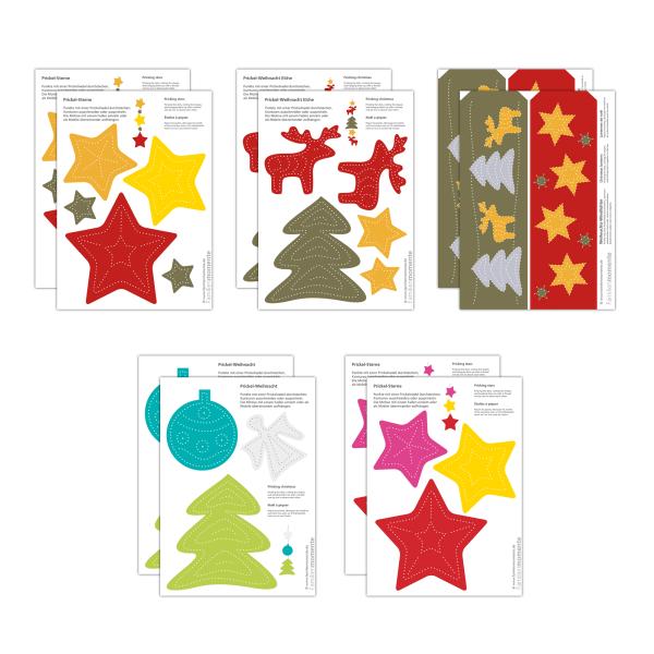 Prickeln für Kinder - 10 Prickelvorlagen Weihnachten